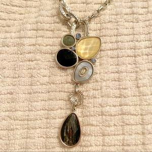 Asymmetrical blue teardrop necklace, silver coat